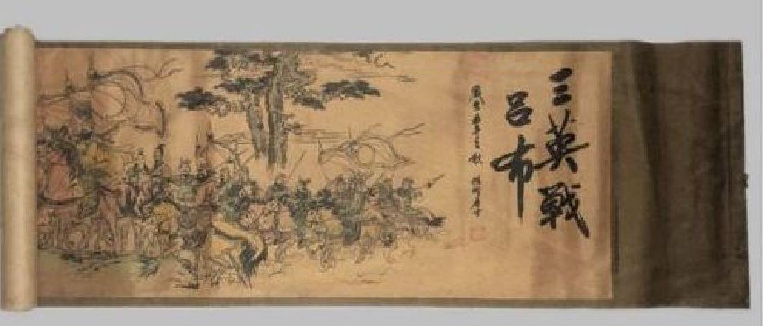 Old Chinese Silk paper Painting Three Heroes Scroll