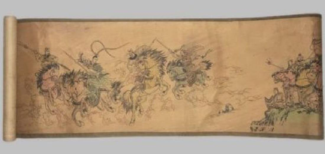 Old Chinese Silk paper Painting Three Heroes Scroll - 2