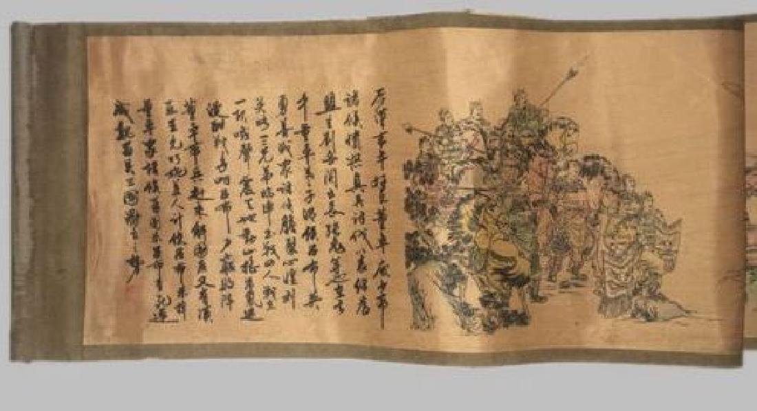 Old Chinese Silk paper Painting Three Heroes Scroll - 3