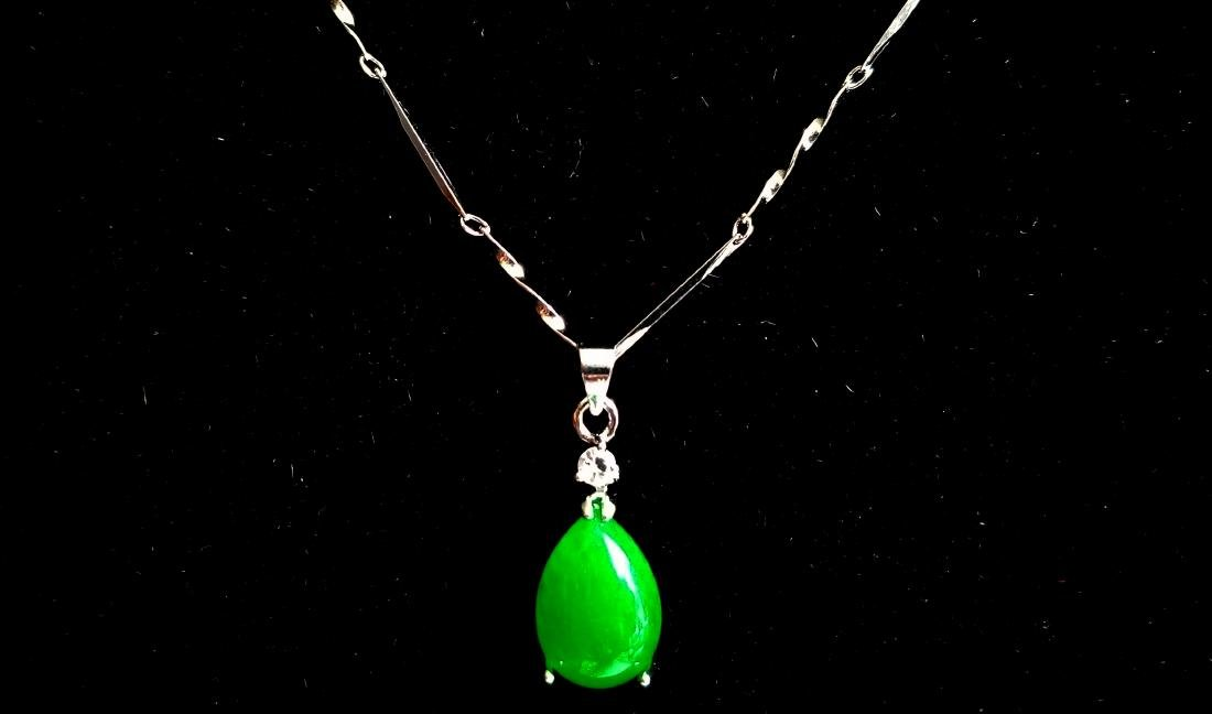 925 Sterling Silver Pendant Necklace Green jade