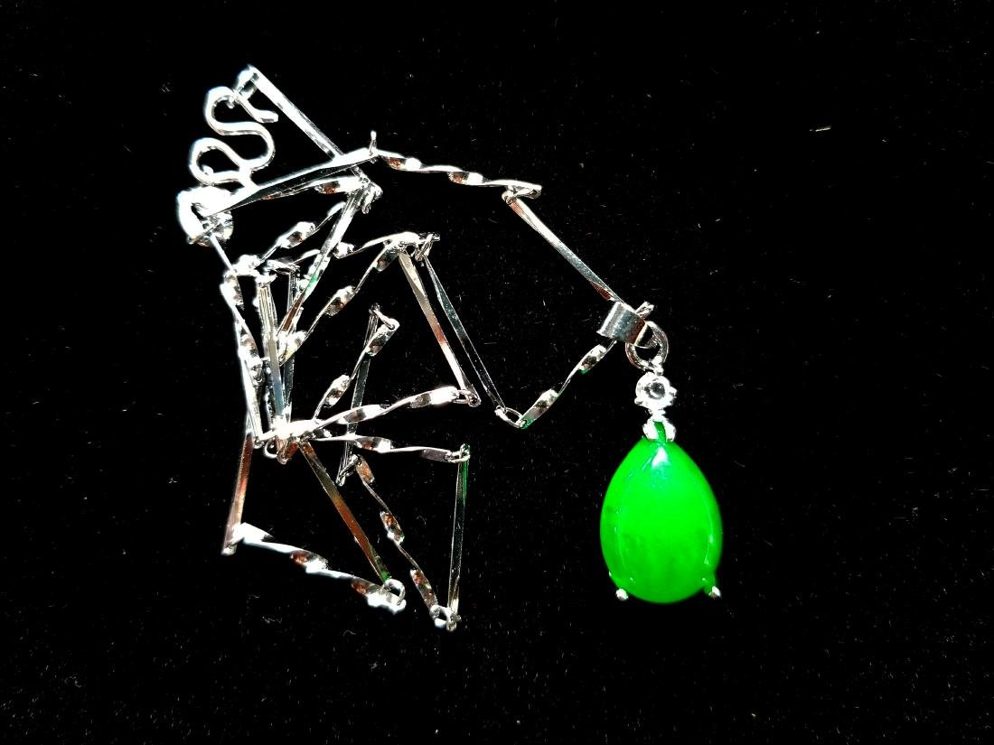 925 Sterling Silver Pendant Necklace Green jade - 2