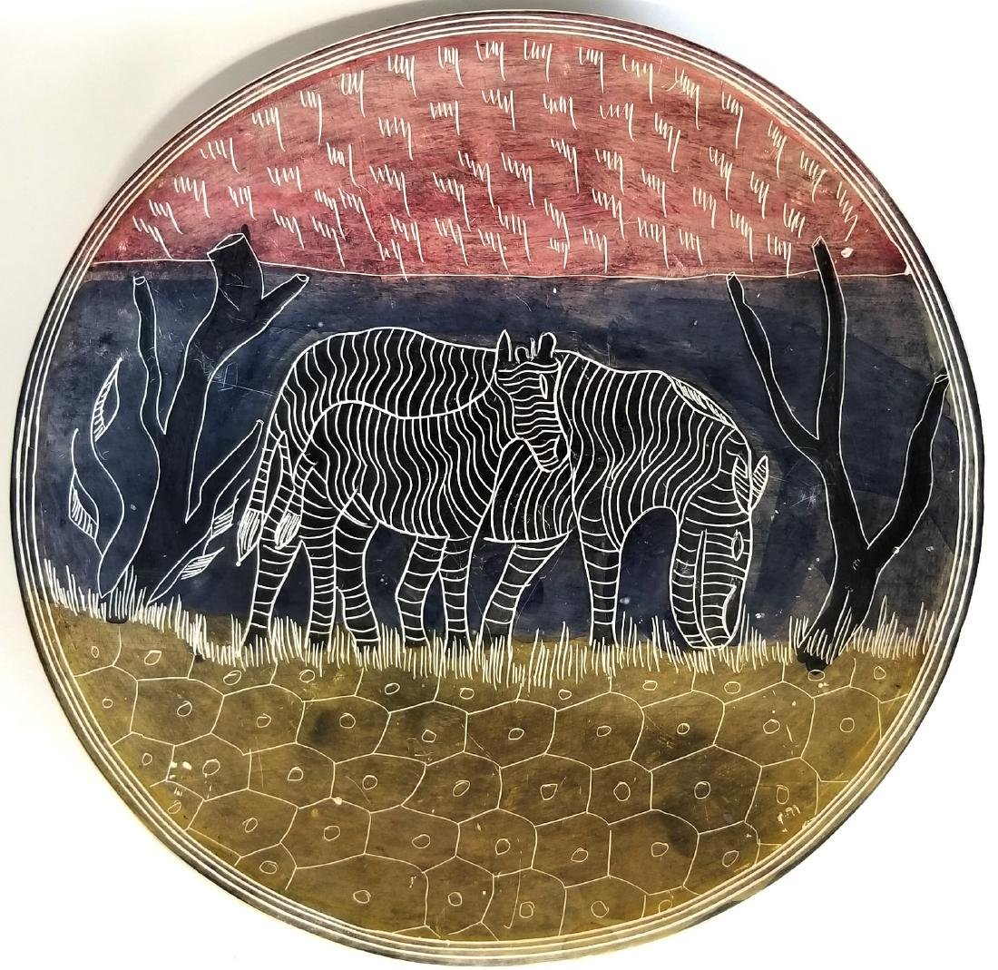 Hand Carved Ceramic Kenya Plate