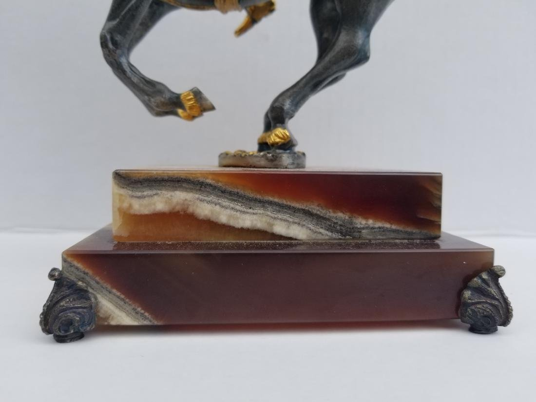 Iron statue on onyx, made in italy, limited edition - 3