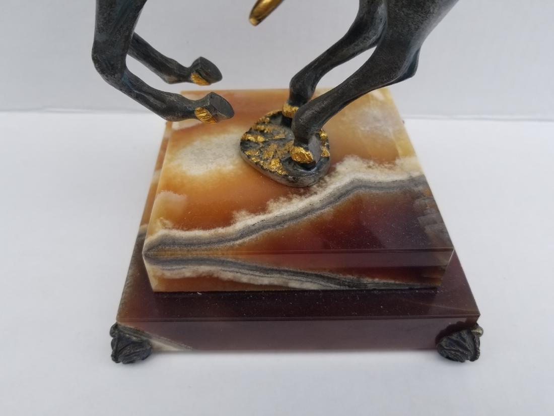 Iron statue on onyx, made in italy, limited edition - 4