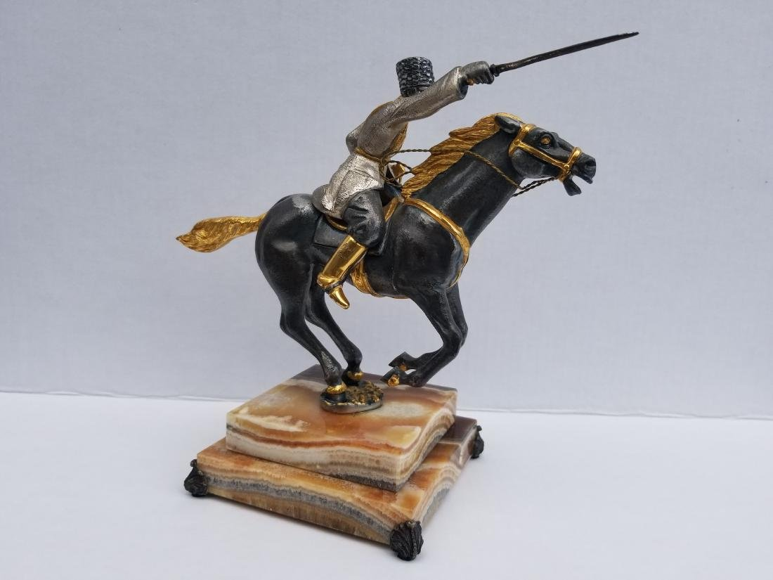 Iron statue on onyx, made in italy, limited edition - 5