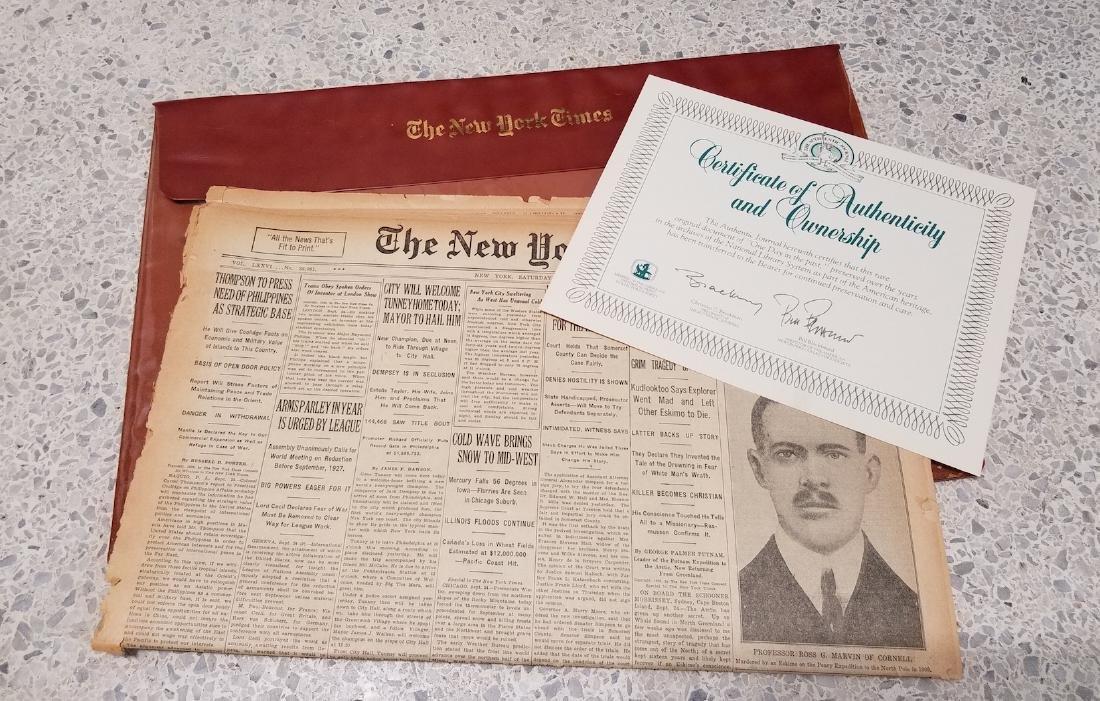 The New York Times Newspaper COA September 25,1926