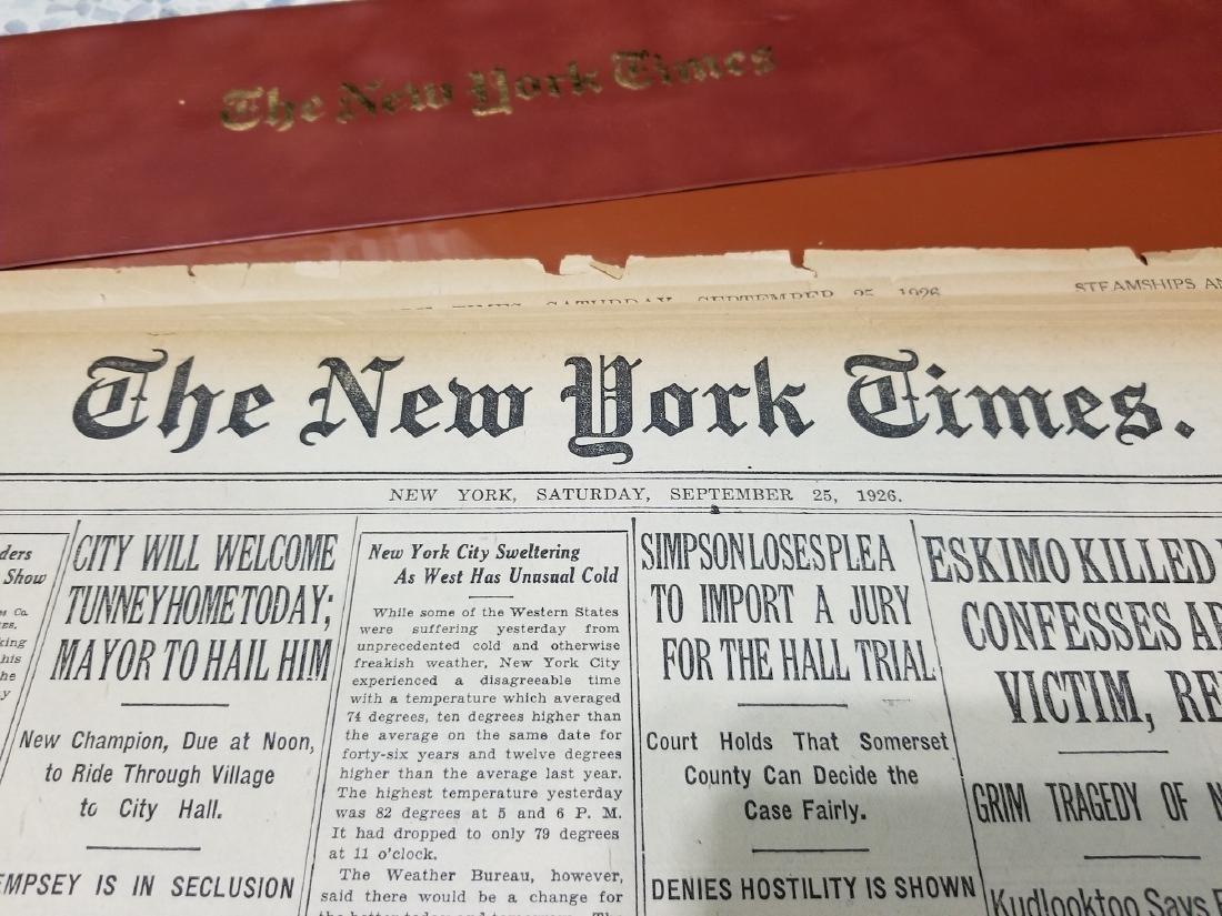 The New York Times Newspaper COA September 25,1926 - 3