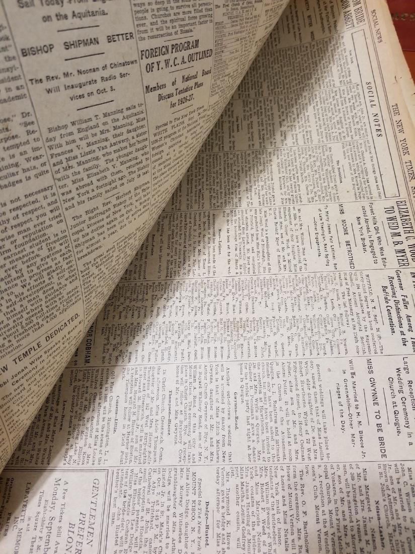 The New York Times Newspaper COA September 25,1926 - 6