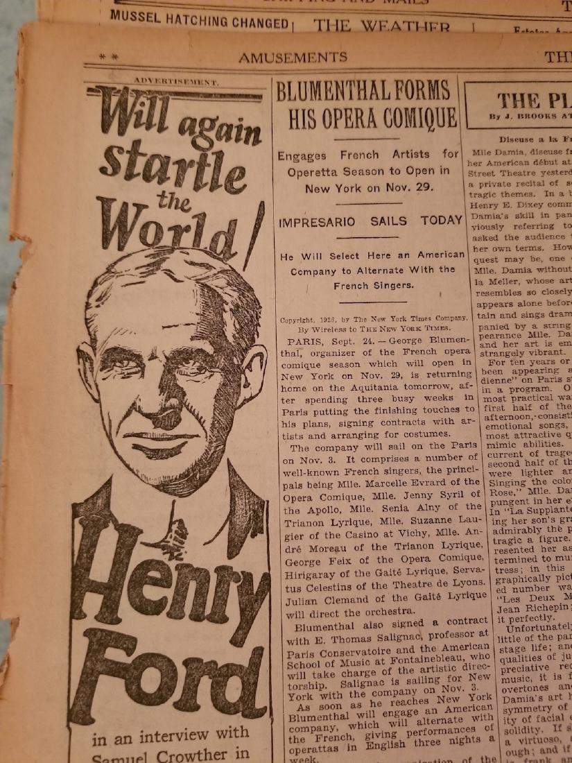 The New York Times Newspaper COA September 25,1926 - 7