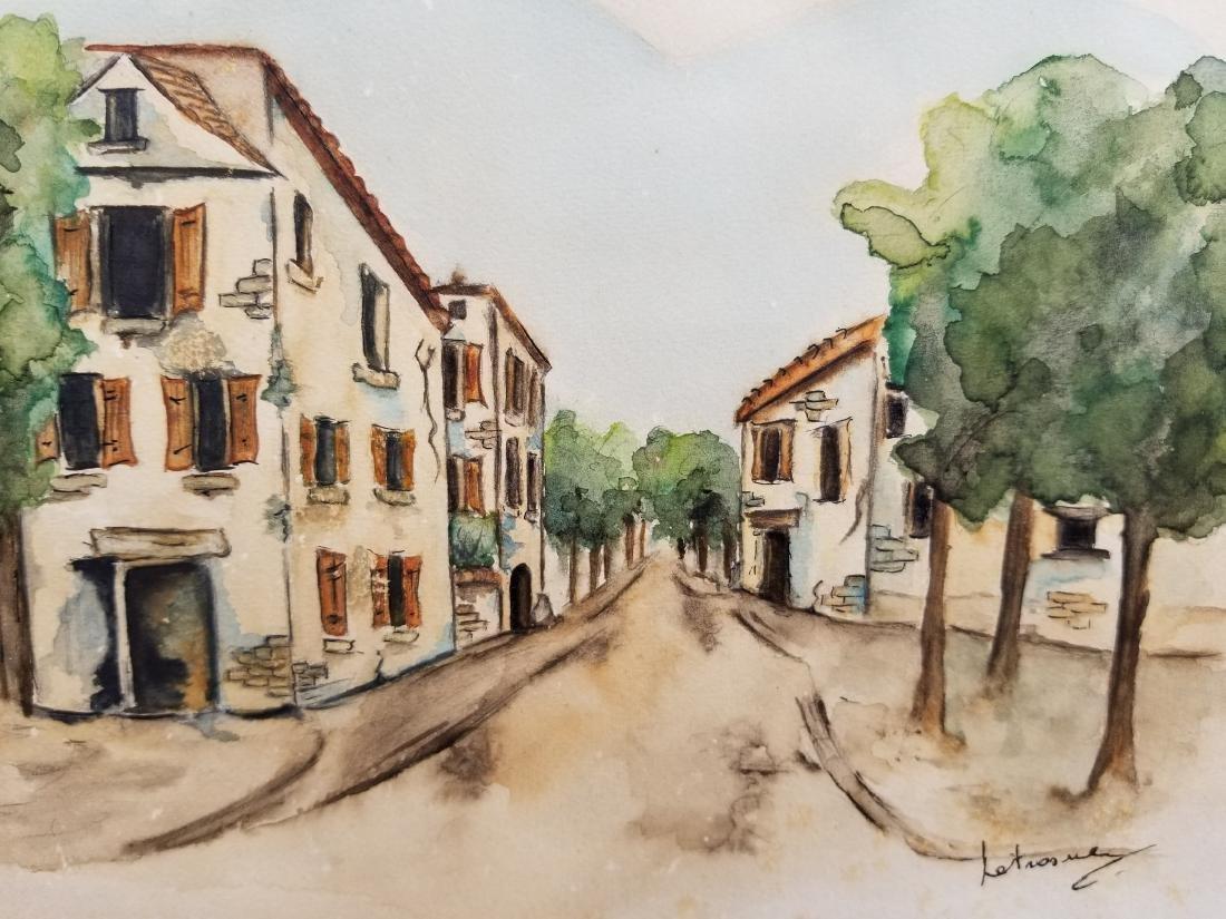 Original Watercolor Painting Signed Paris - 2