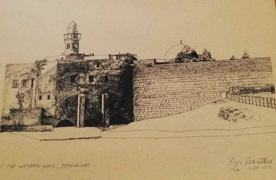 Original Engraving Jerusalem -Roger Savaterri-