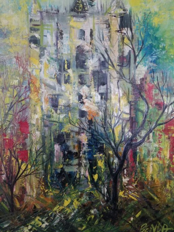 Abstract Painting On Canvas Panel - 3