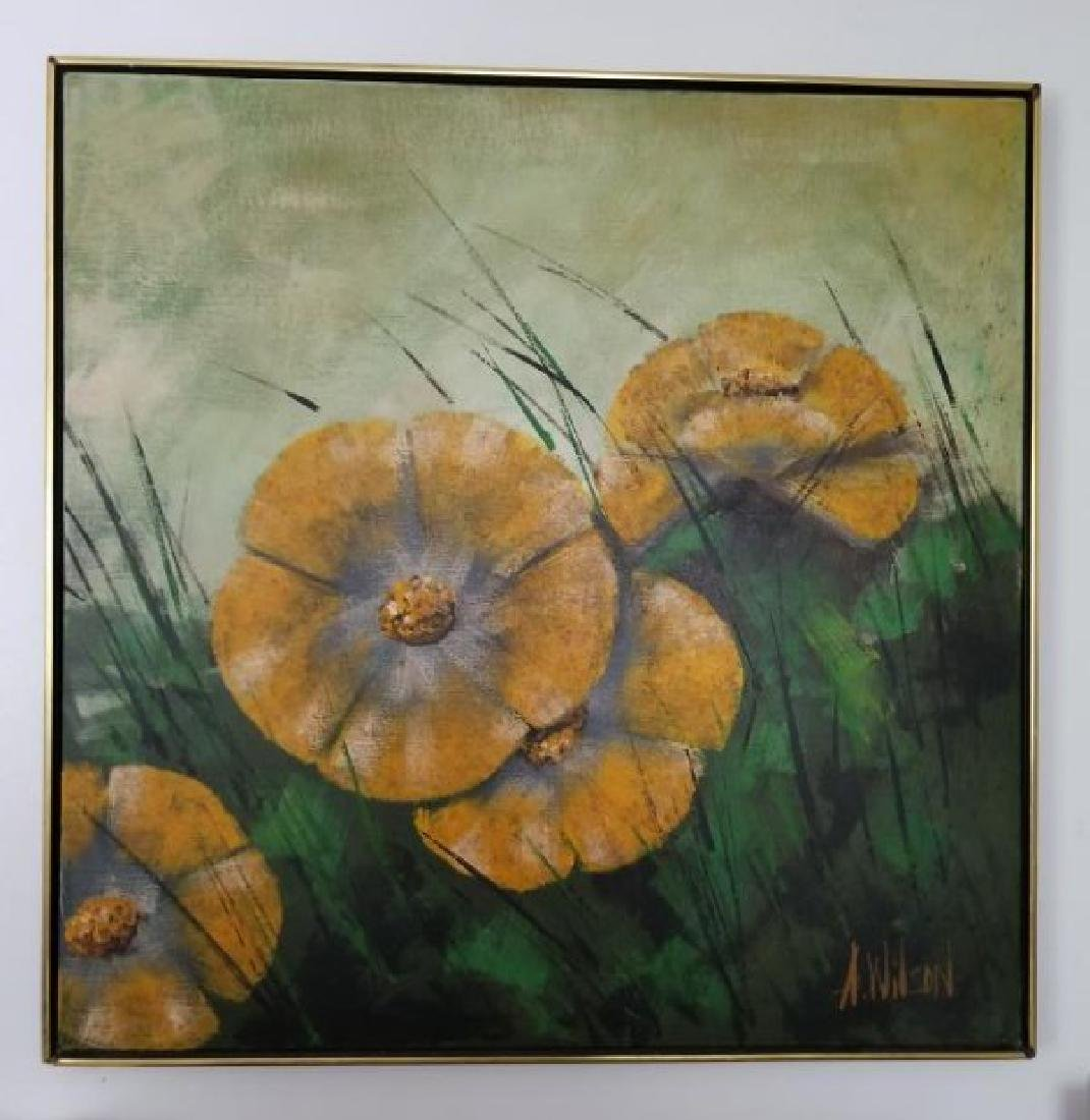 "Painting On Canvas Signed A. Wilson ""Yellow Flowrs"
