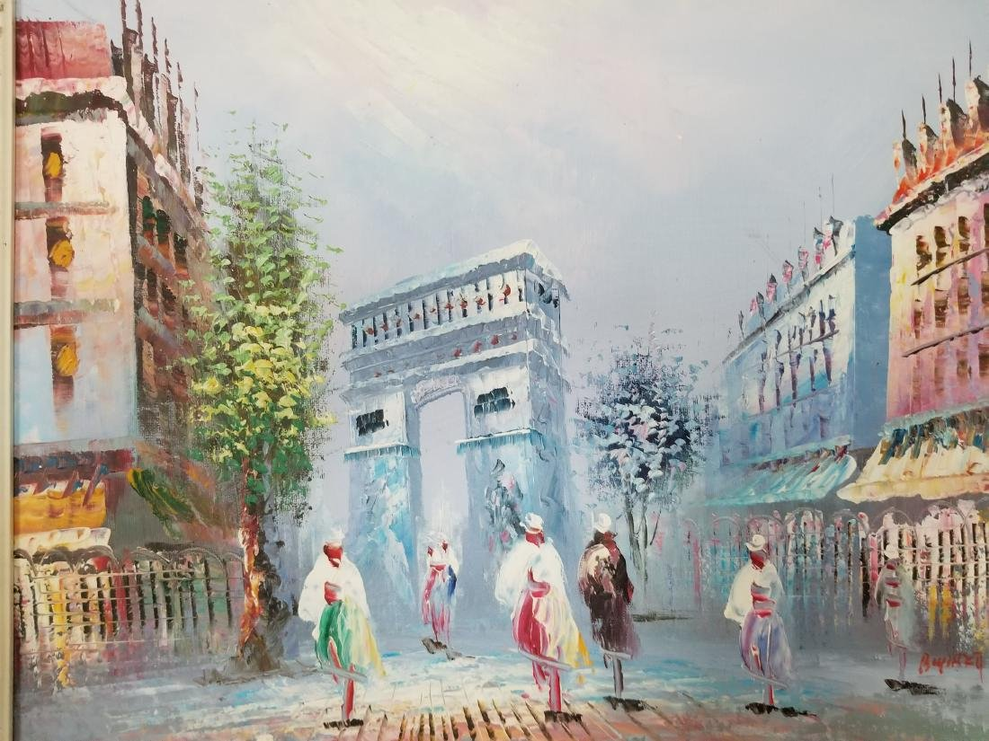 "Vintage Painting "" Arch of Triumph"" France Signed - 2"