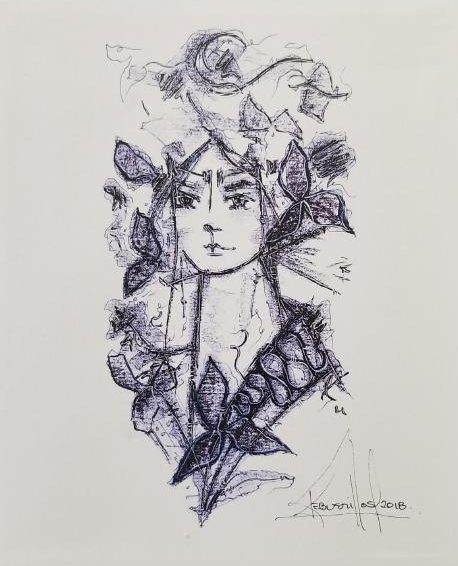 Original Signed Artwok By The Cuban Artist Jose