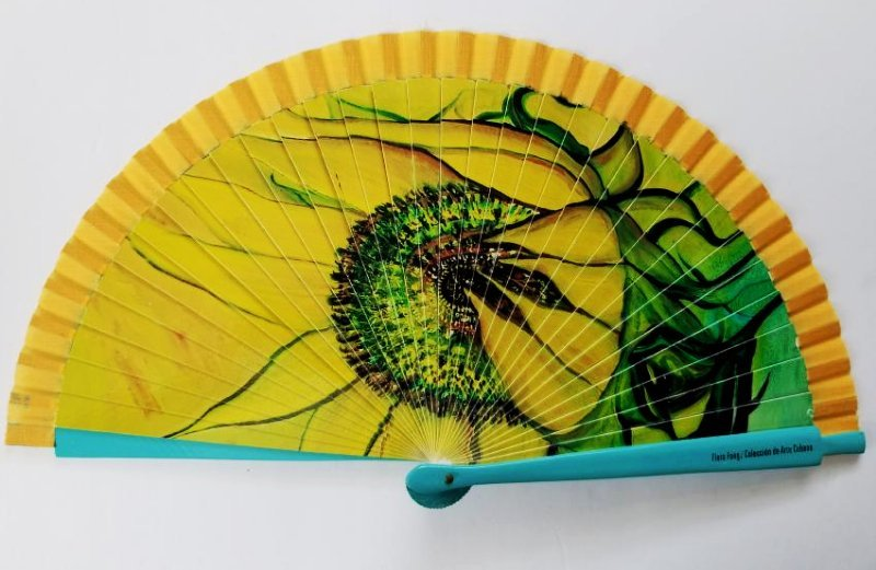 Wood And Fabric Fan With Design By Artist Flora Fong
