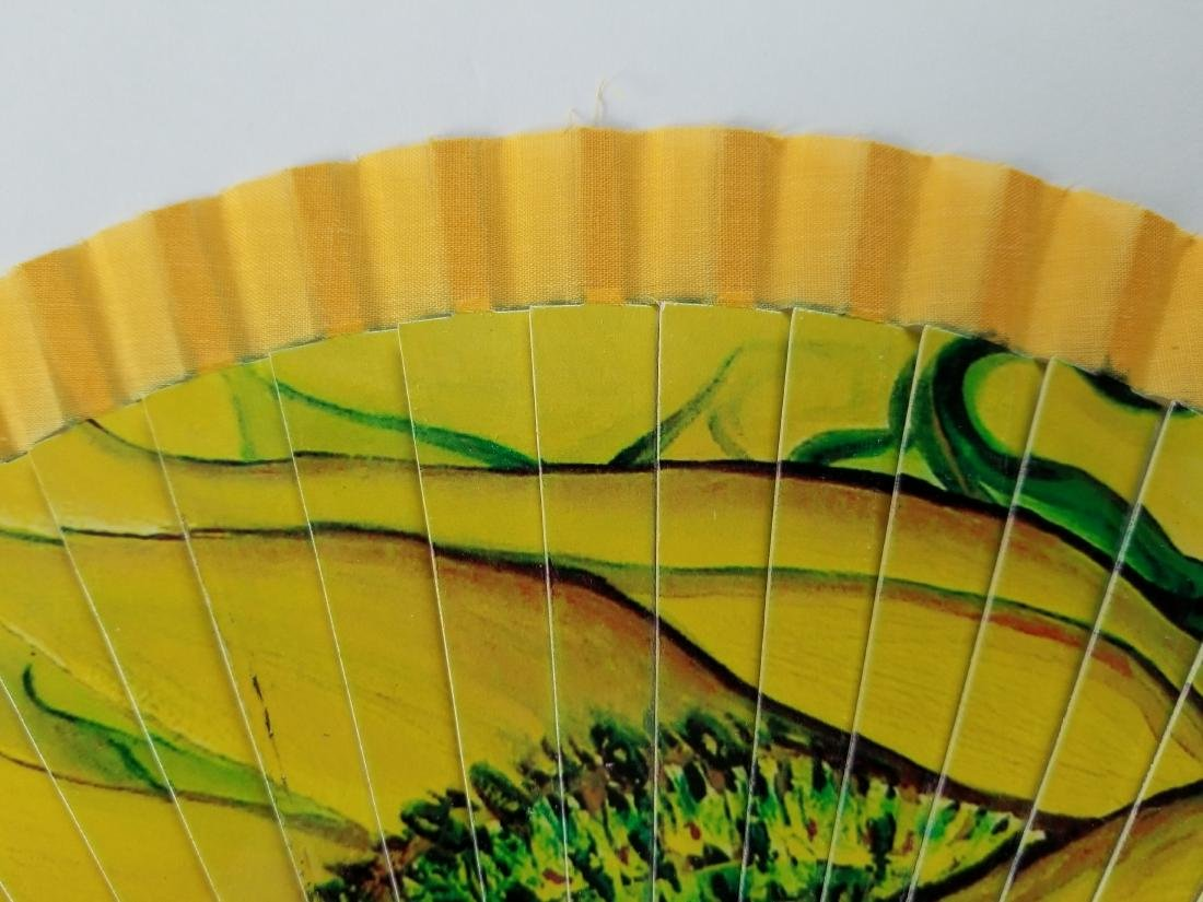 Wood And Fabric Fan With Design By Artist Flora Fong - 4