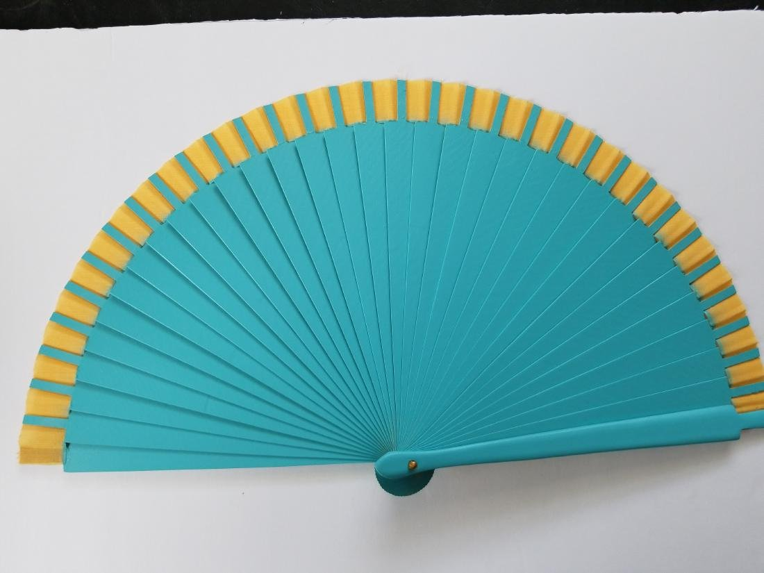 Wood And Fabric Fan With Design By Artist Flora Fong - 5