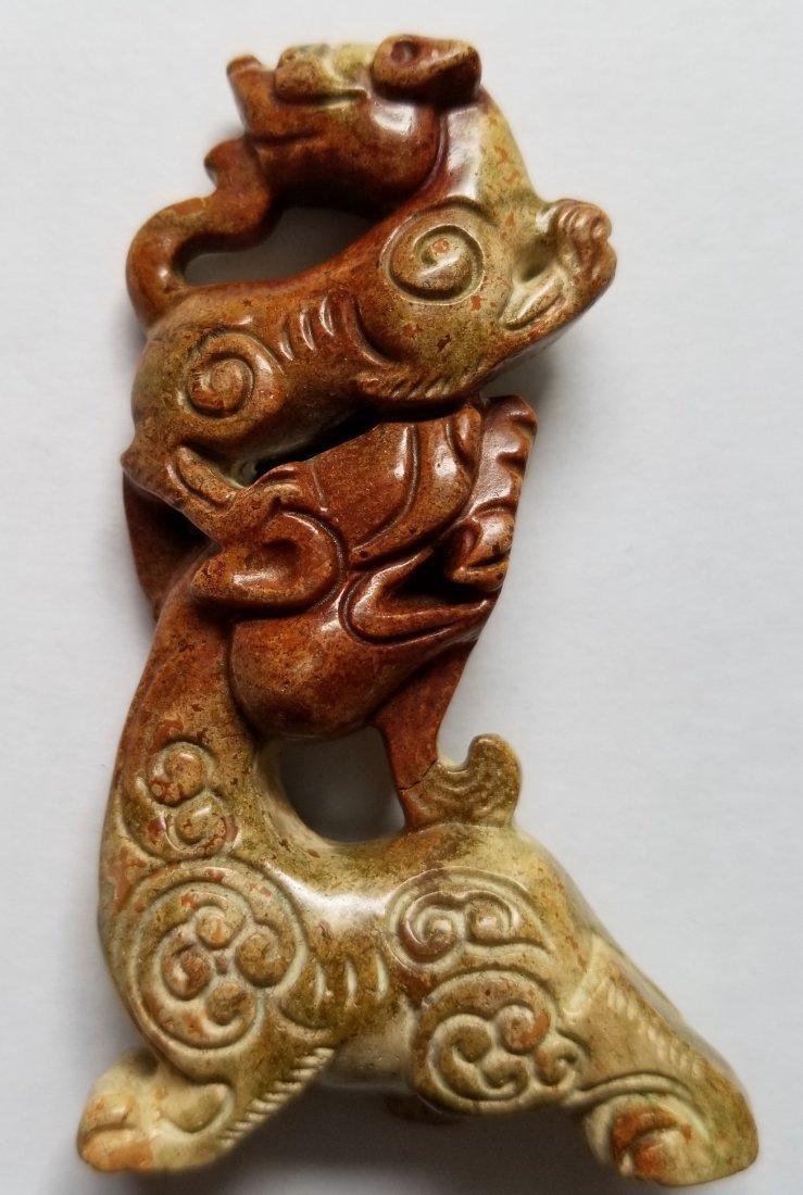 Old jade Hand Carved Amulet Statue
