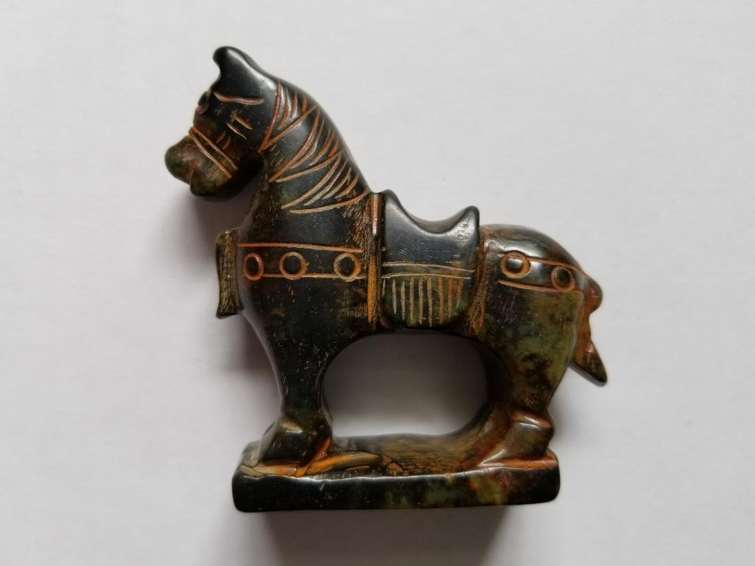 Old Chinese Natural Jade Hand Carved Horse Statue