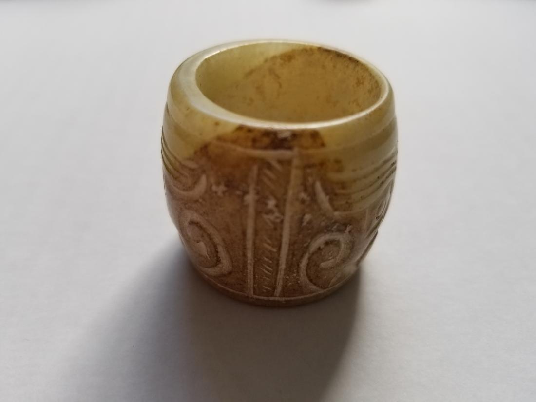 Old natural jade hand carved thumb ring man ring A5