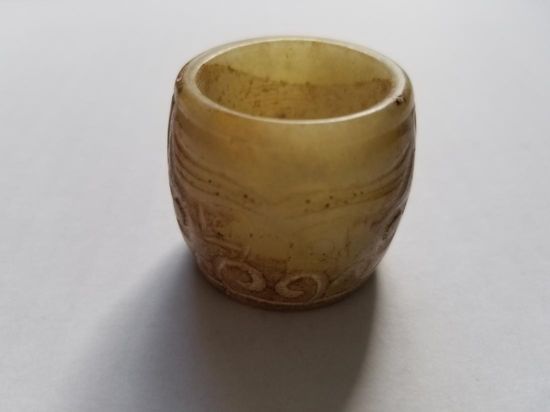 Old natural jade hand carved thumb ring man ring A5 - 3