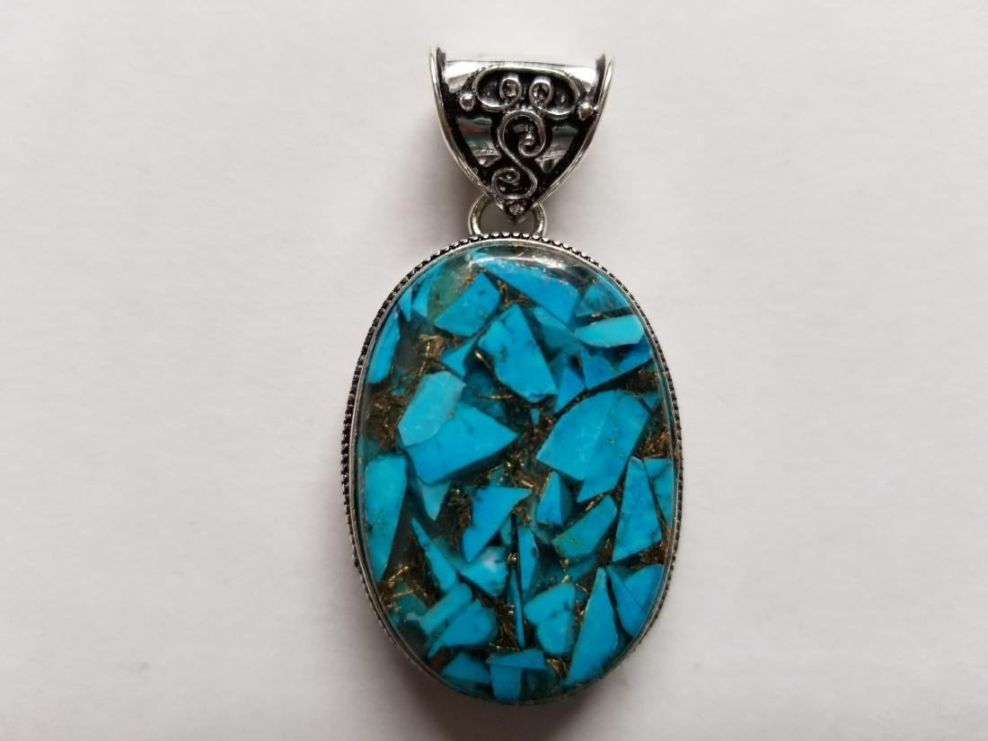 BLUE COPPER TURQUOISE WITH VINTAGE DESIGN .925 SILVER