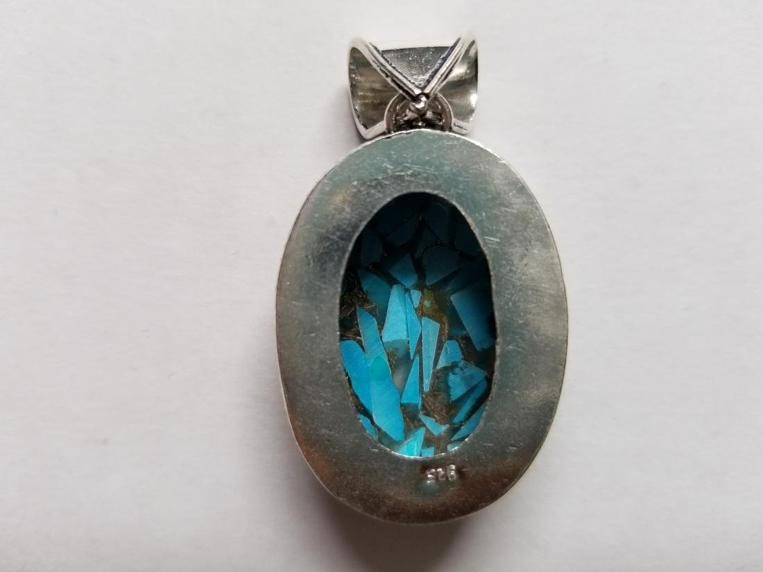 BLUE COPPER TURQUOISE WITH VINTAGE DESIGN .925 SILVER - 2