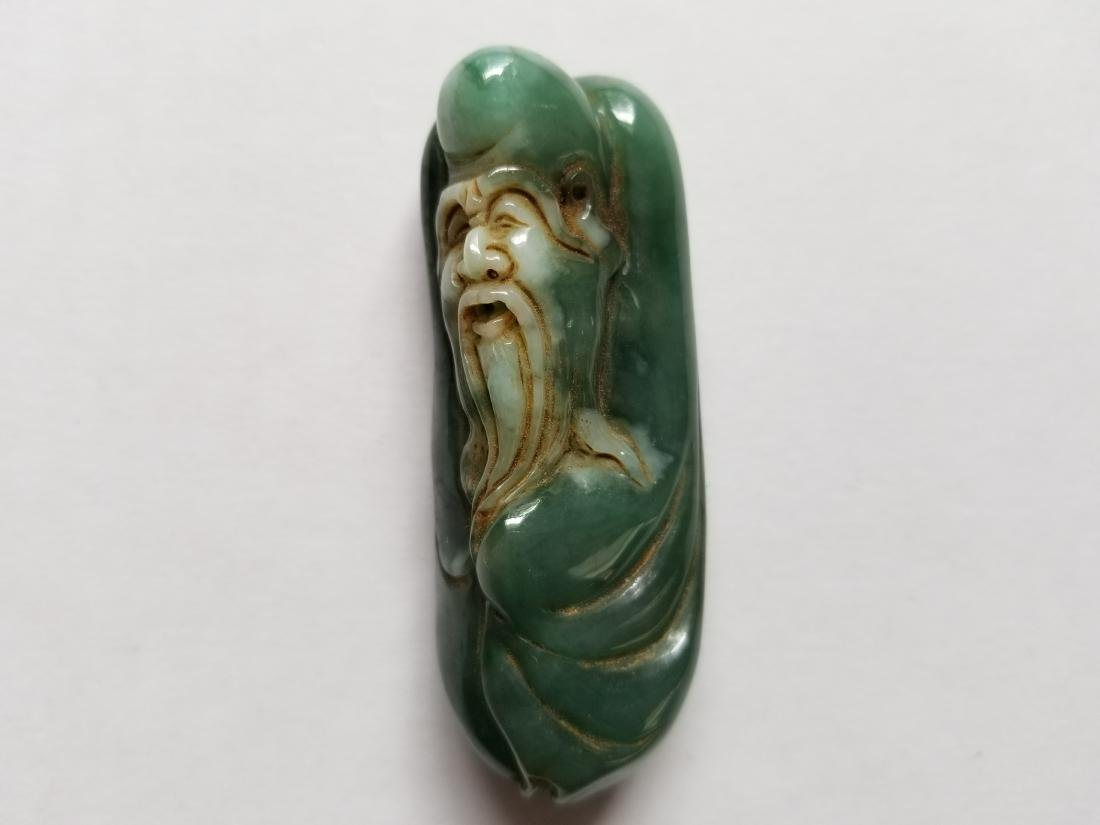 Chinese Exquisite Hand-carved old man carving Jadeite