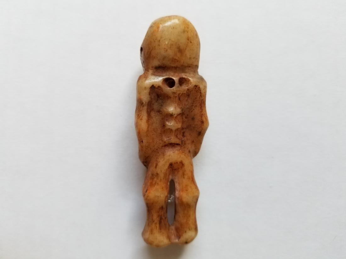 Hand-carved jade Human skeleton pendant - 2
