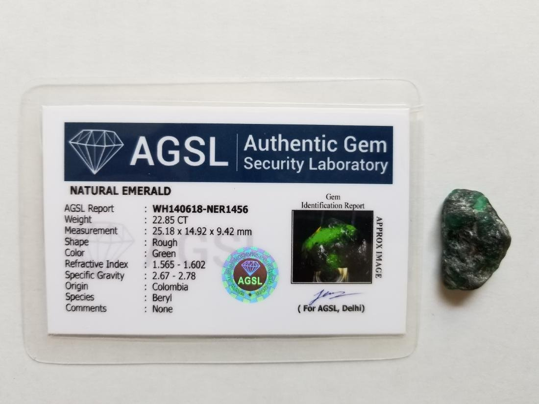 22.85 Ct Natural Green Colombian Emerald AGSL Certified