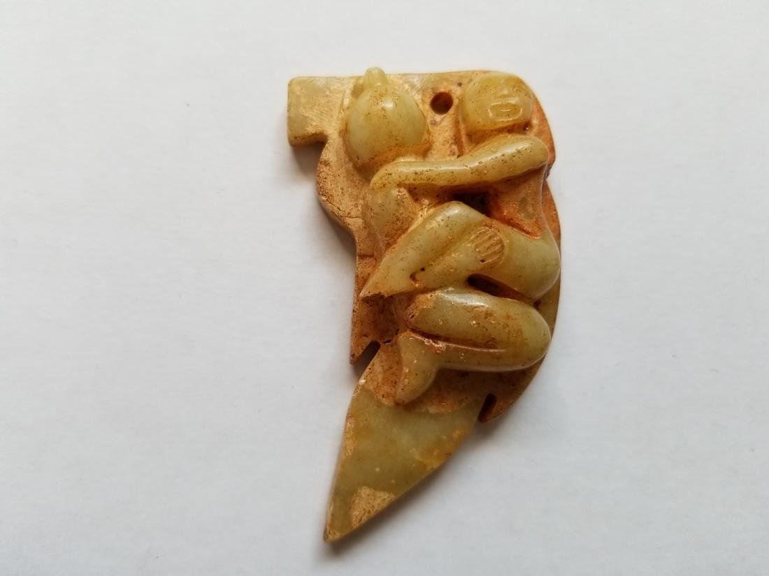 Delicate old jade carved amulet Pendant