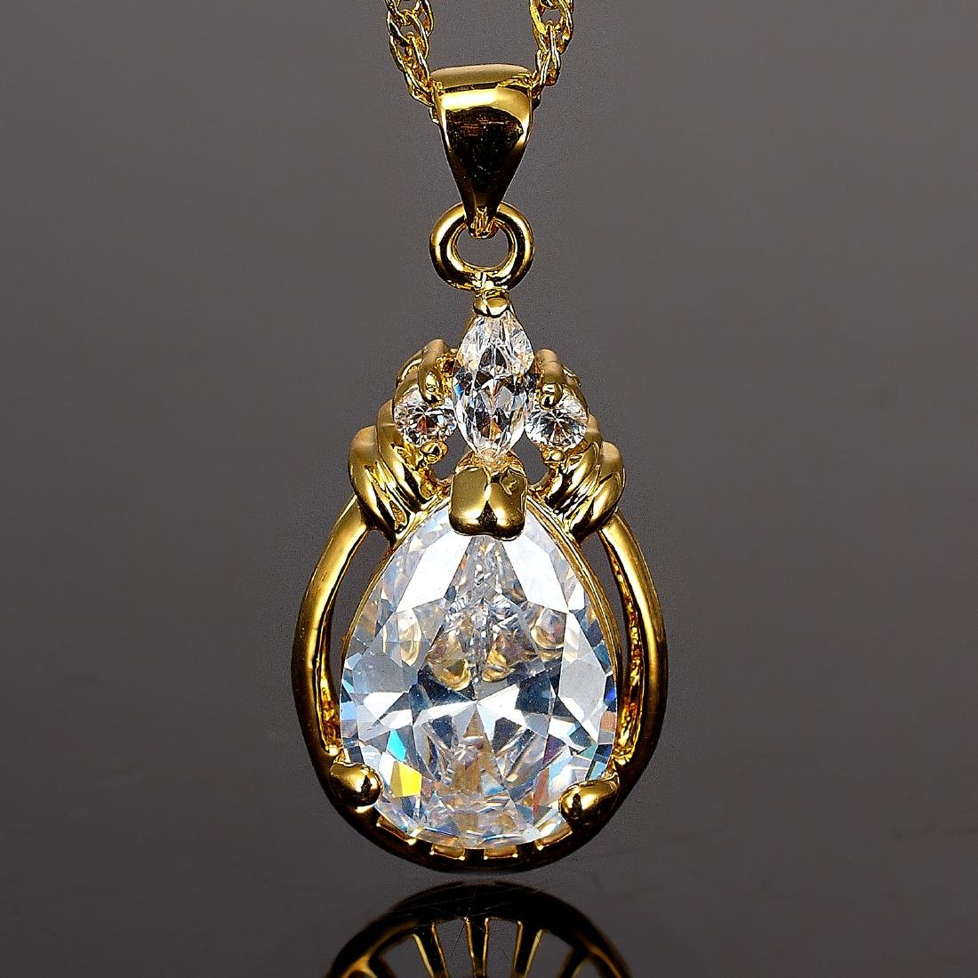 Women Jewelry Pear Cut CZ 18K Yellow GP Pendant