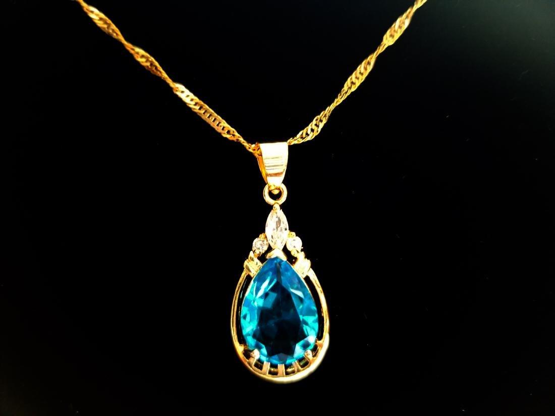 Women Jewelry Pear Cut CZ 18K YGP Pendant Necklace