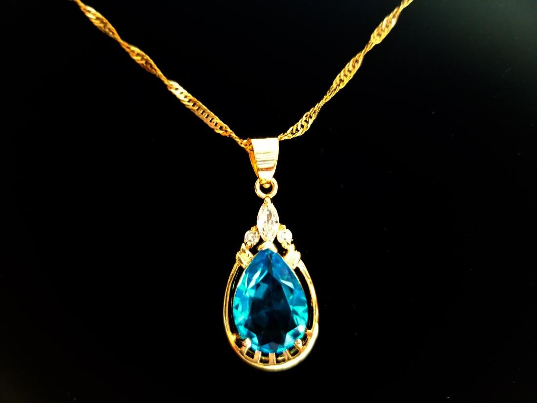 Women Jewelry Pear Cut CZ 18K YGP Pendant Necklace