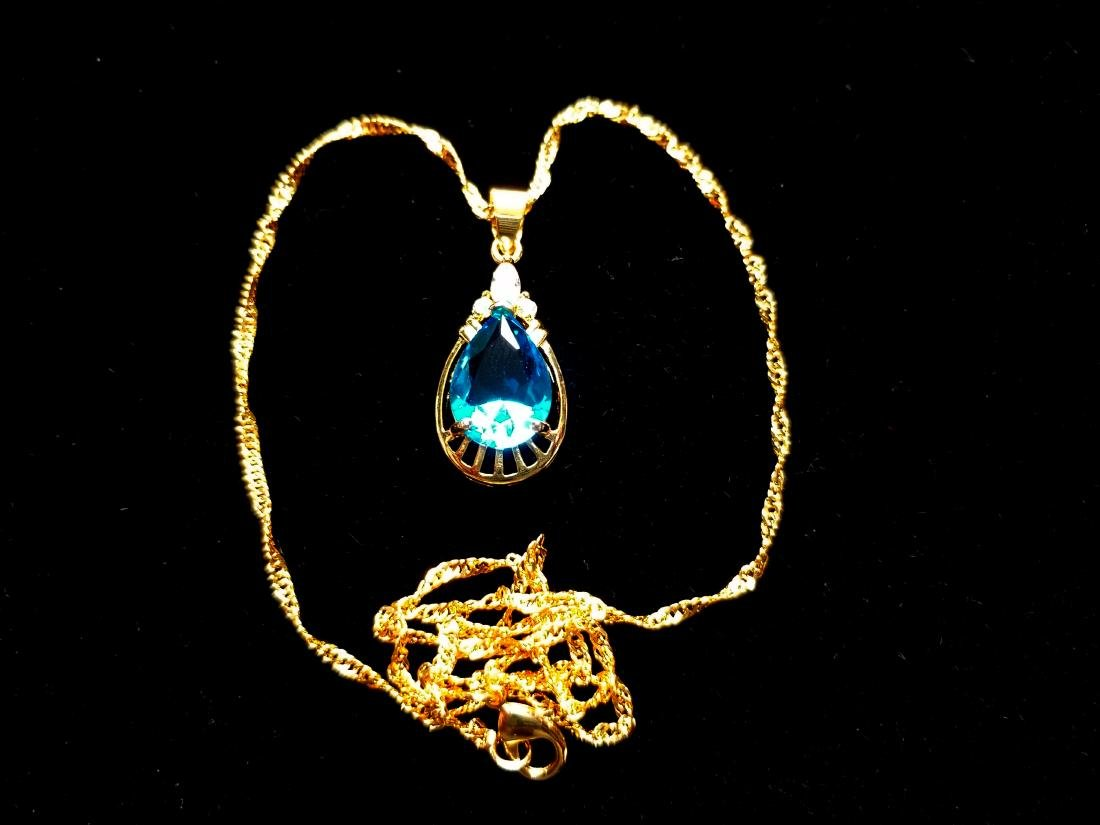 Women Jewelry Pear Cut CZ 18K YGP Pendant Necklace - 2