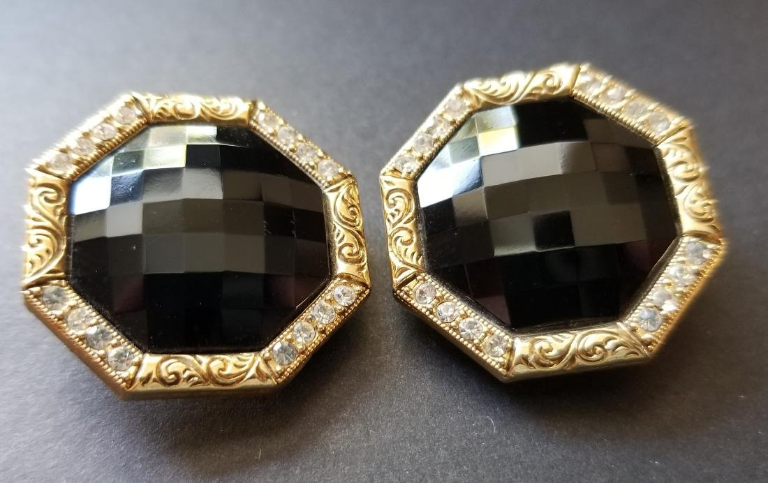 Vinatge Black-Gold Tone Earrings - 2