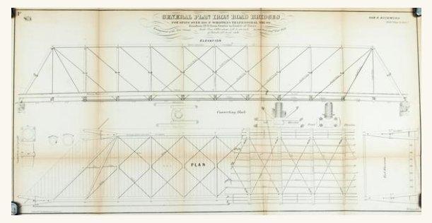 1860 Plan F - General Plan Iron Road Bridges, Whipple's