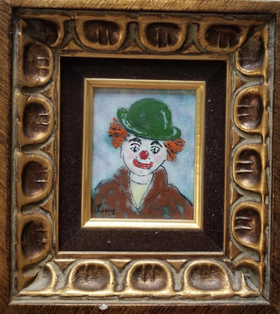 Clown painting on metal plate. Signed