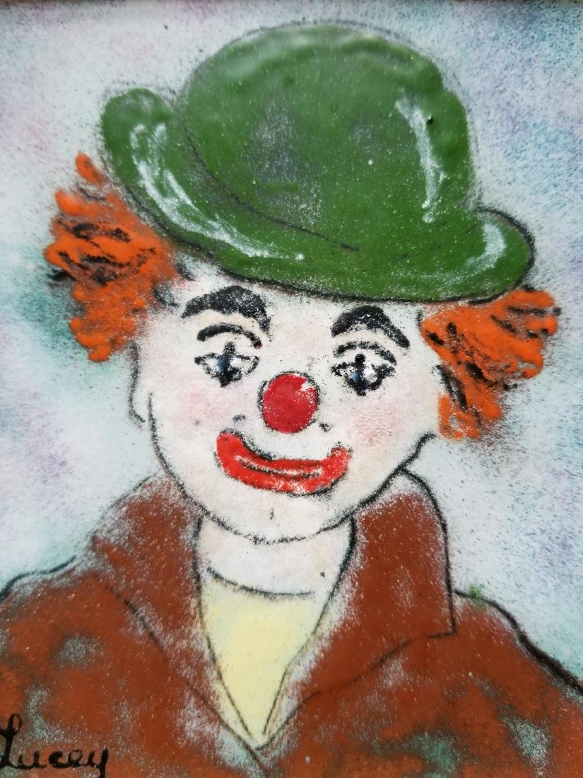 Clown painting on metal plate. Signed - 4