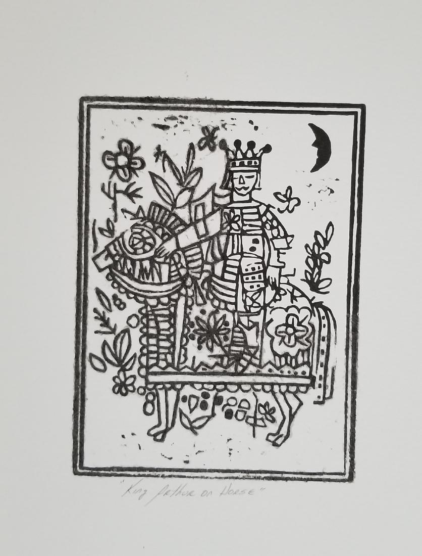 Original Woodblock Print- King Arthur on Horse