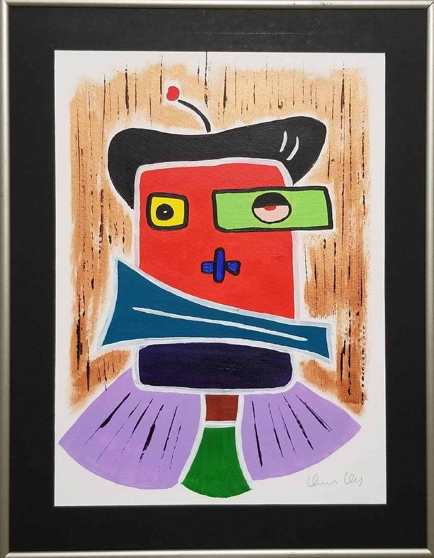 Acrylic Painting on Paper. Signed & Framed