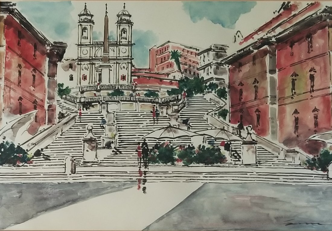 Watercolor Painting Signed And Stamped FABRIANO