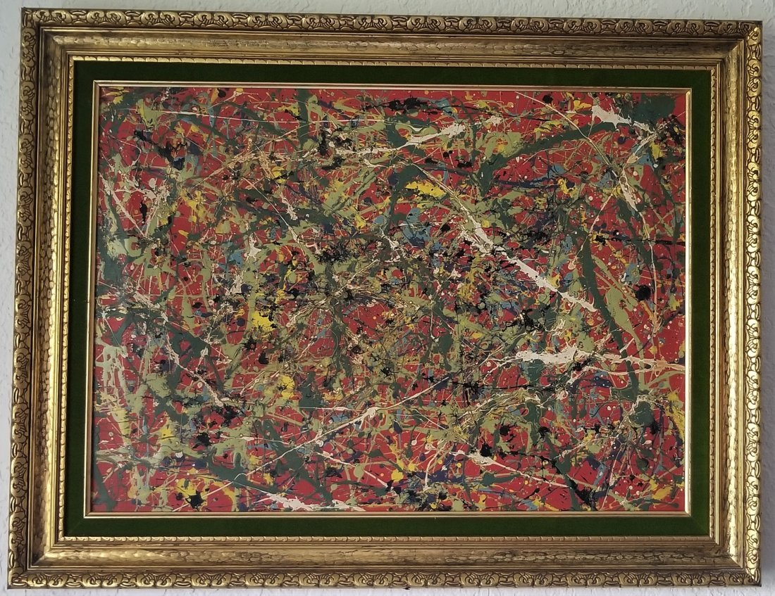 Jackson Pollock Painting on Canvas