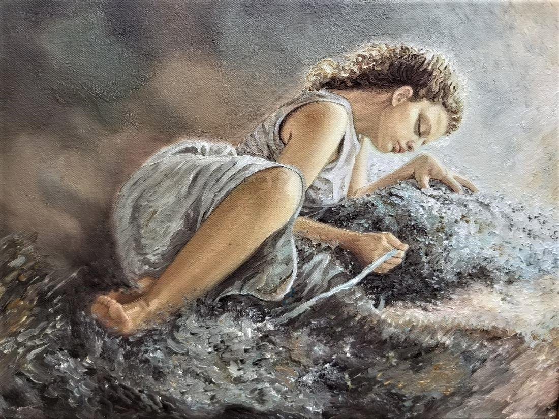Original Oil Painting On Canvas. Water Source. - 2