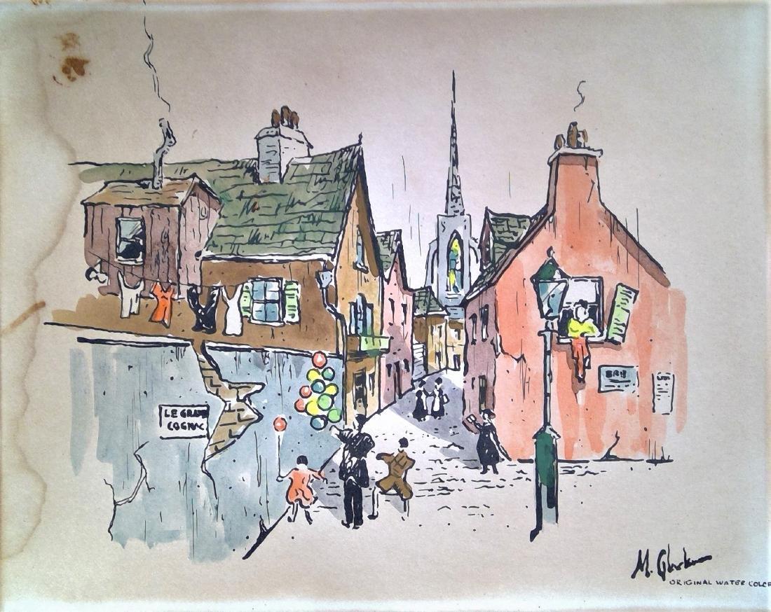 Original Vintage Watercolor Drawing ... Art