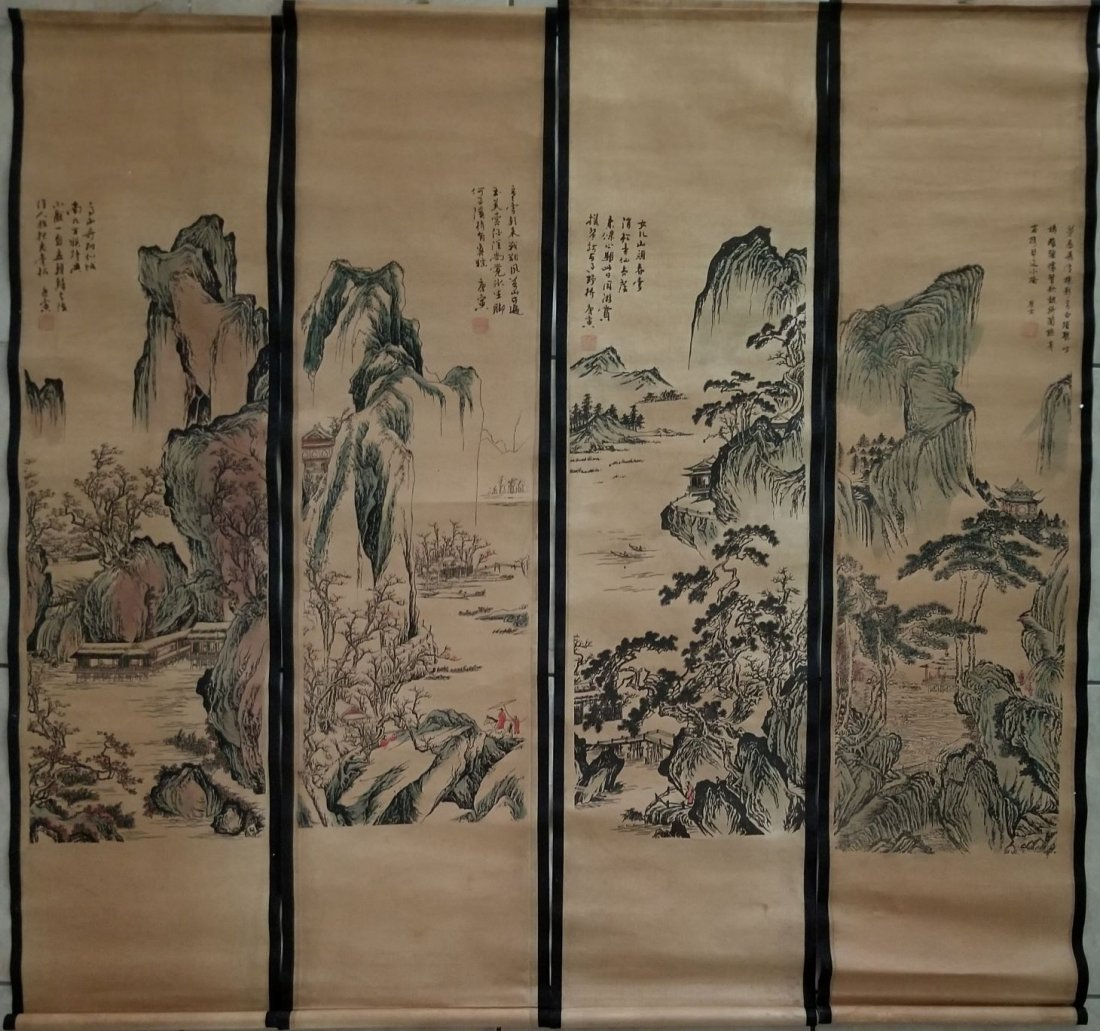 Set of 4 pcs Collection Scroll Chinese Painting