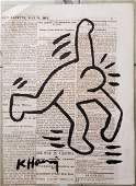 Keith Haring Painting on NewsPaper