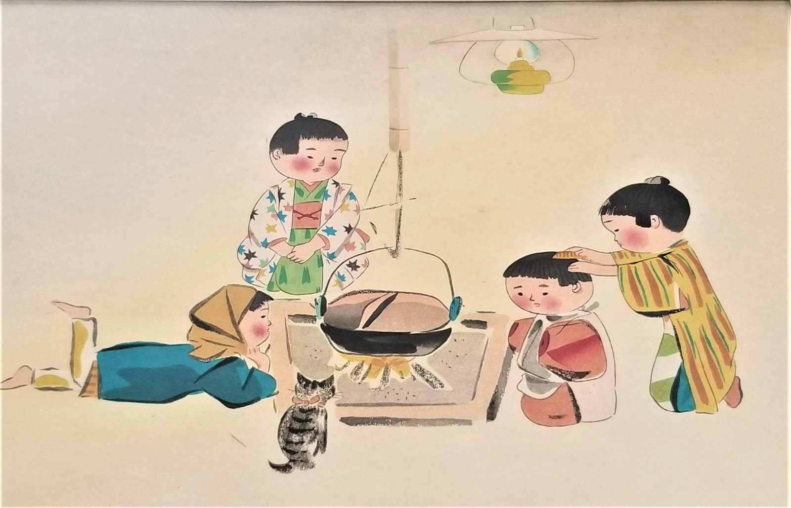 Hitoshi Hiyohara Oriental Wood Block Print Signed