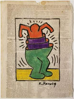 Keith Haring Painting Signed